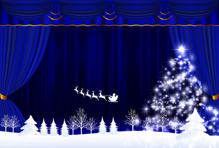 winter theater: Christmas snow Santa background