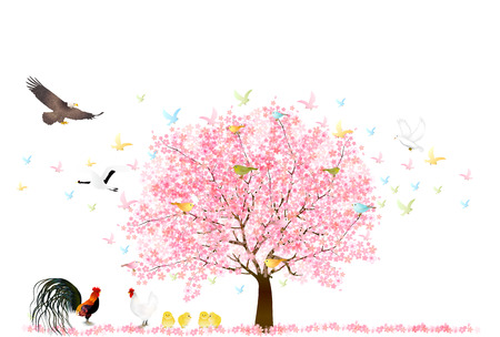 Rooster cherry tree New Years card background Illustration