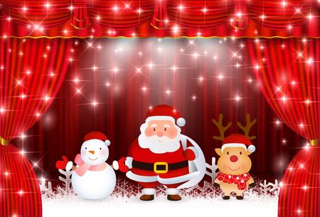クリスマス サンタ カーテン背景  イラスト・ベクター素材