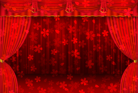 Cherry curtain curtain stage