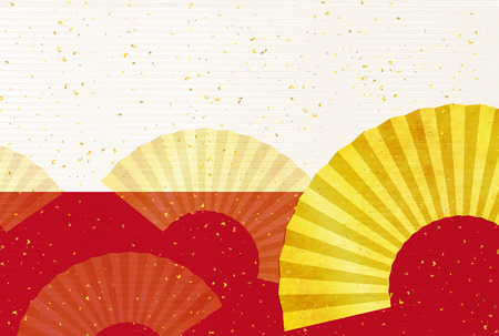 paper fan: Japanese paper fan greeting card background