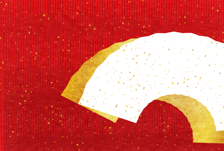 gold leaf: Japanese paper greeting card red background Illustration