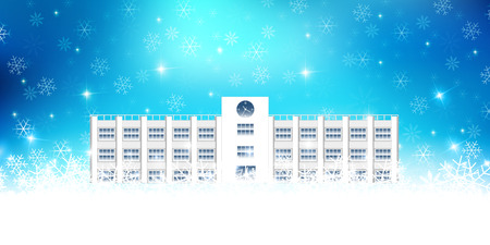 christmas snow: School Christmas snow background Illustration