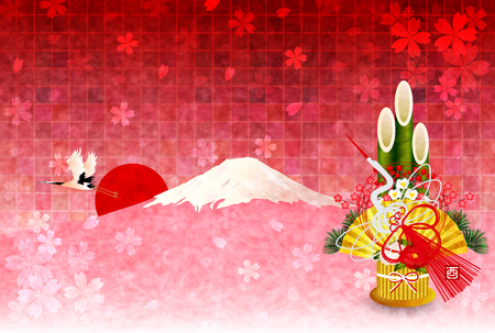 kadomatsu: Rooster Fuji New Years card background