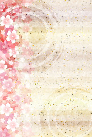 japanese paper: Cherry Japanese paper greeting card background