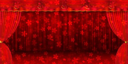 桜のカーテン カーテン ステージ