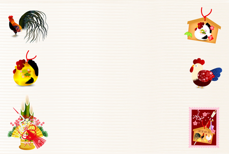 ema: Roosters cherry blossom view background Illustration
