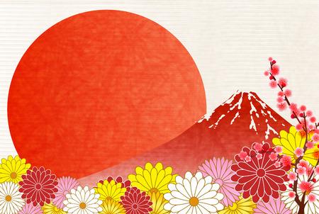 Fuji New Years cards plum background Illustration