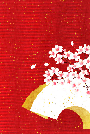 Cherry Japanese paper New Years card background Illustration