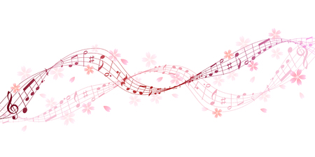 Musical note cherry score background