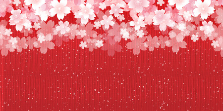 paper background: Cherry Japanese paper spring background Illustration