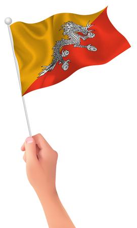 bhutan: Bhutan flag hand icon