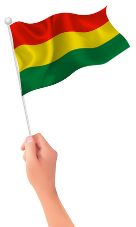 Bolivia flag hand icon