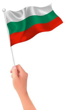 Bulgaria flag hand icon