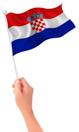 bandera de croacia: Croatia flag hand icon