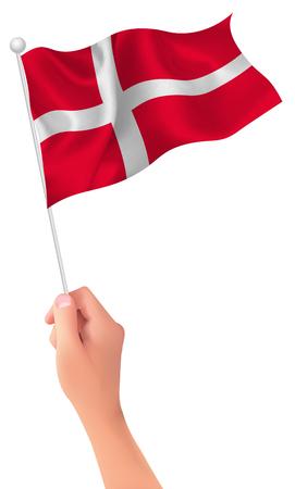 Denmark flag hand icon Illustration
