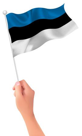 estonia: Estonia flag hand icon