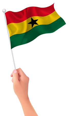 Ghana: Ghana flag hand icon Illustration