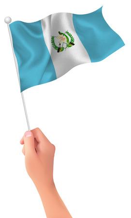 bandera de guatemala: Guatemala flag hand icon