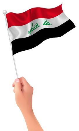 iraq: Iraq flag hand icon