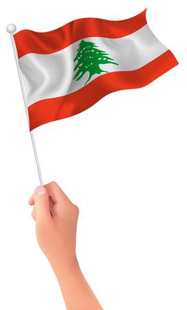 Icono de bandera de la mano del Líbano Ilustración de vector