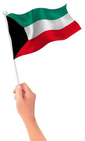 kuwait: Kuwait flag hand icon