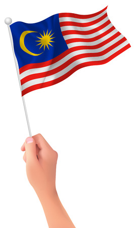 Malaysia flag hand icon Illustration