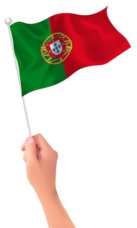portugal: Portugal flag hand icon
