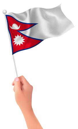 ネパールの旗の手のアイコン  イラスト・ベクター素材