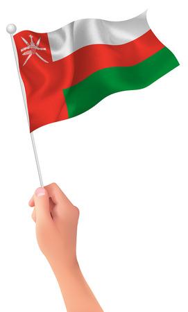 Oman flag hand icon Illustration