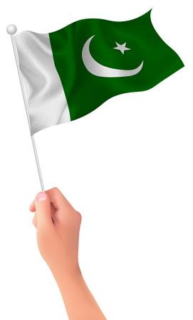 flag of pakistan: Pakistan flag hand icon Illustration