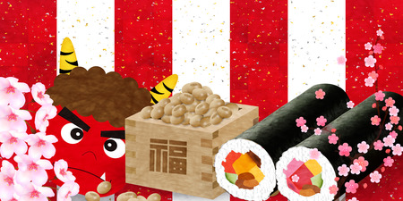 Bean sushi demon background Illustration