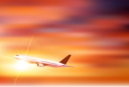 Airplane Sky Sunset Background