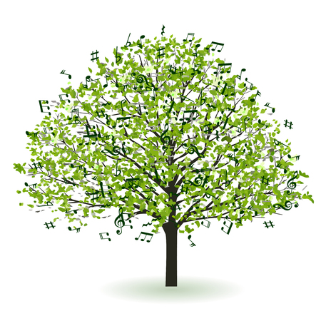 Fresh green tree notes icon Illustration