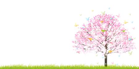 Kirsche Vogel-Frühlings-Hintergrund