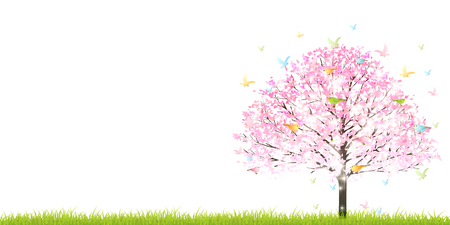 Cherry Ptaki Wiosna w tle Ilustracje wektorowe