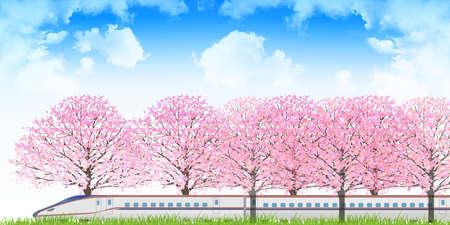 shinkansen: Cherry Shinkansen spring background Illustration