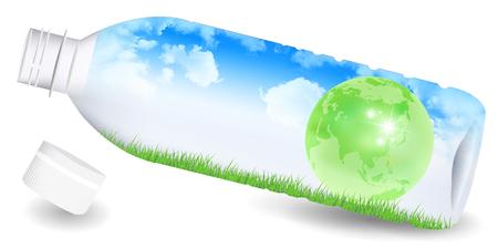 PET bottle earth sky background