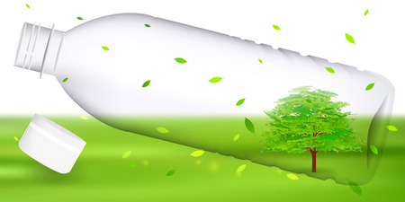 PET bottle fresh green tree background