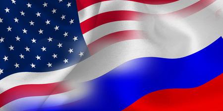 アメリカのロシアの旗の背景