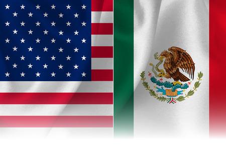 アメリカ メキシコ旗の背景  イラスト・ベクター素材