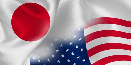日本アメリカ国旗背景