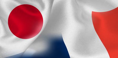 日本フランスの旗の背景