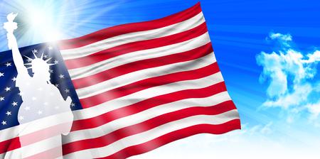 リバティ国旗背景のアメリカ像