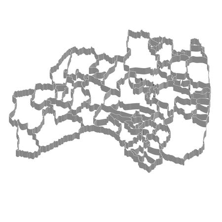 福島 PrefectureMap フレーム アイコン  イラスト・ベクター素材