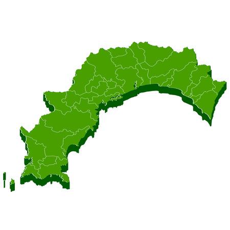 高知県地図フレーム アイコン  イラスト・ベクター素材