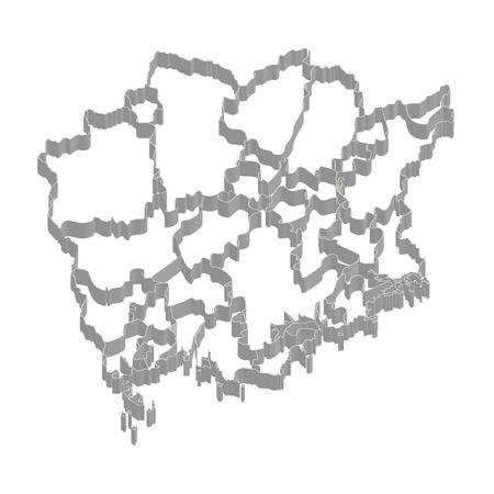岡山県地図のフレーム アイコン  イラスト・ベクター素材