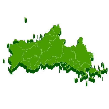 山口県地図フレーム アイコン  イラスト・ベクター素材