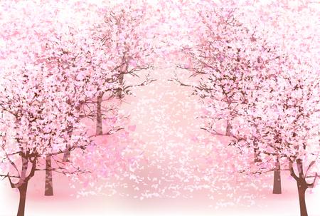 Cherry spring flower background Stock Illustratie