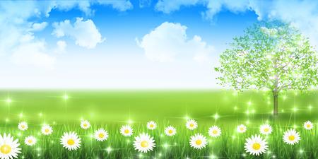 花の新鮮な緑の風景の背景